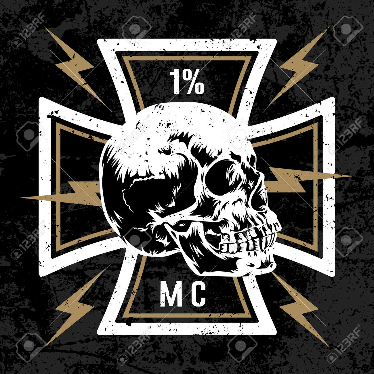 Vector hand drawn illustration with maltese cross with a skull vector hand drawn illustration with maltese cross with a skull biker symbol motorcycle club buycottarizona Images