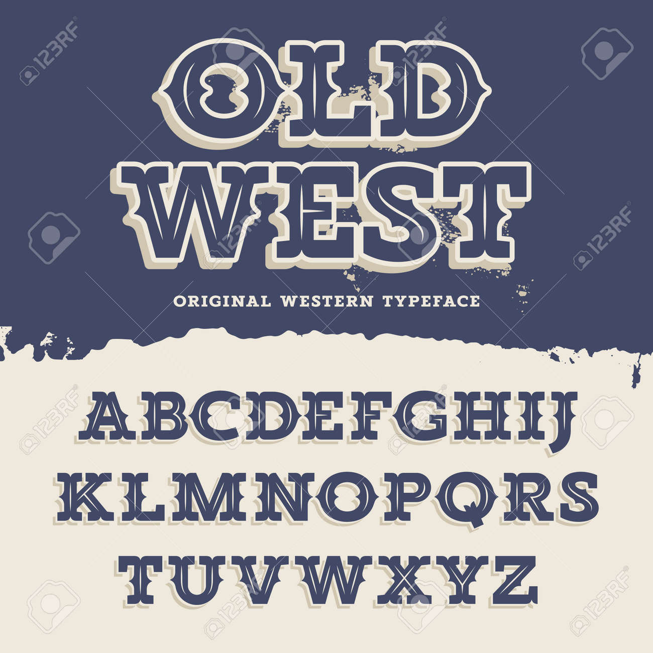 Old West Typeface Retro Alphabet In Western Style Slab Serif Type Letters On A