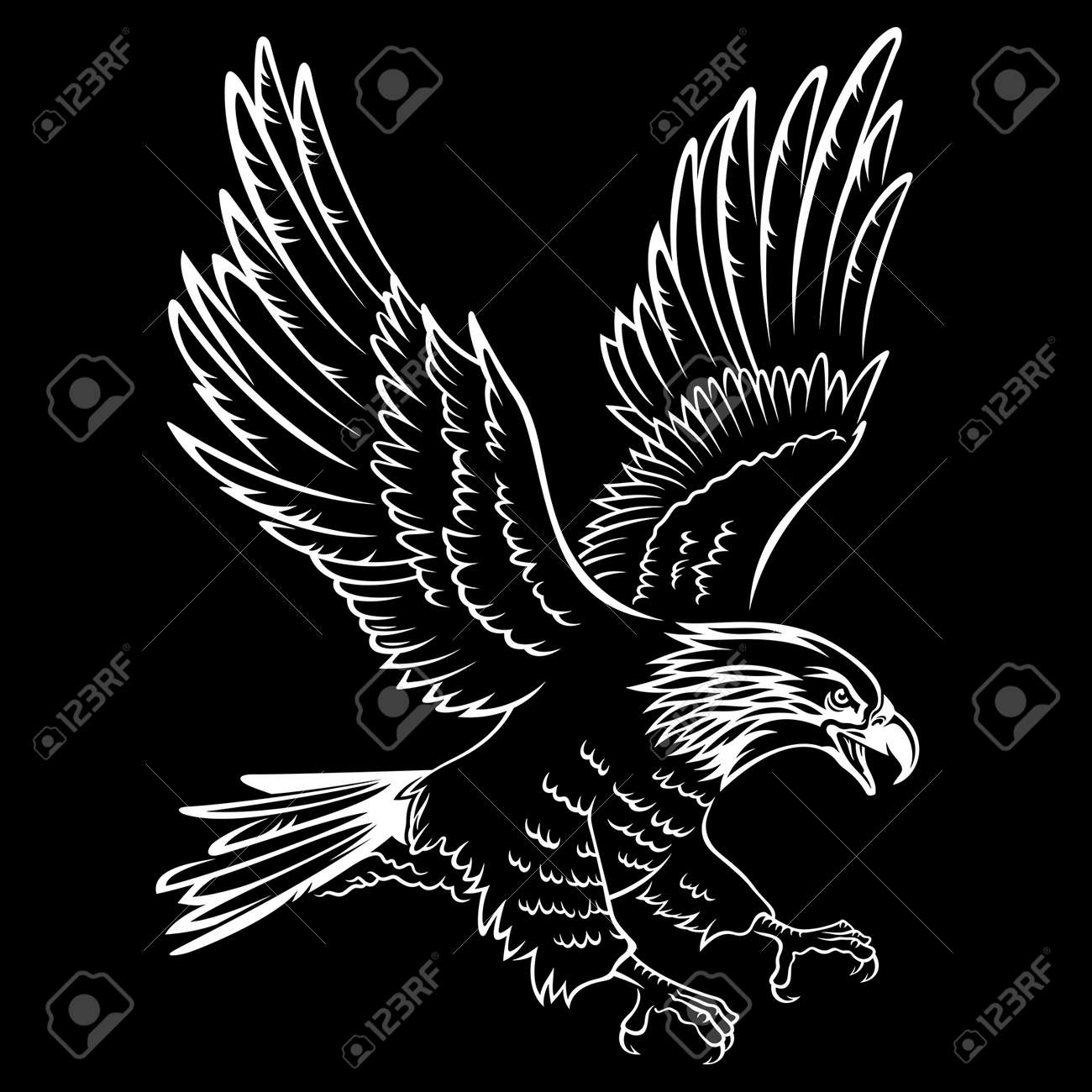 Bald Eagle silhouette isolated on black. This vector illustration can be used as a print on T-shirts, tattoo element or other uses - 55953258