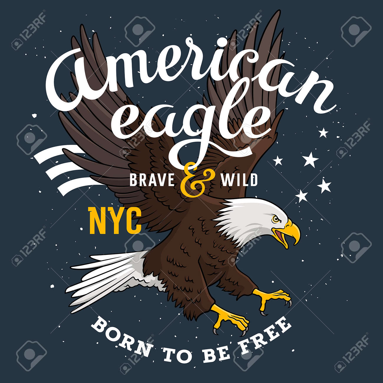 """American Bald Eagle on a grunge background and inscription """"Born to be free"""". T-shirt apparel print graphics. Original graphic Tee - 55954927"""