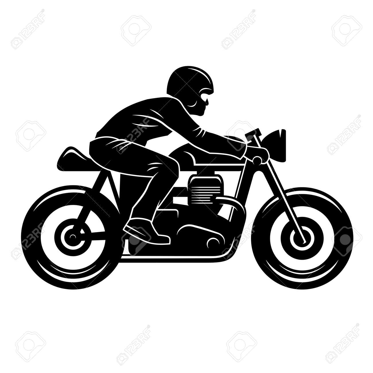 Cafe Racer silhouette isolated on white / Motorcycle rider / Vintage t-shirt graphic design / Tee graphics - 69824510