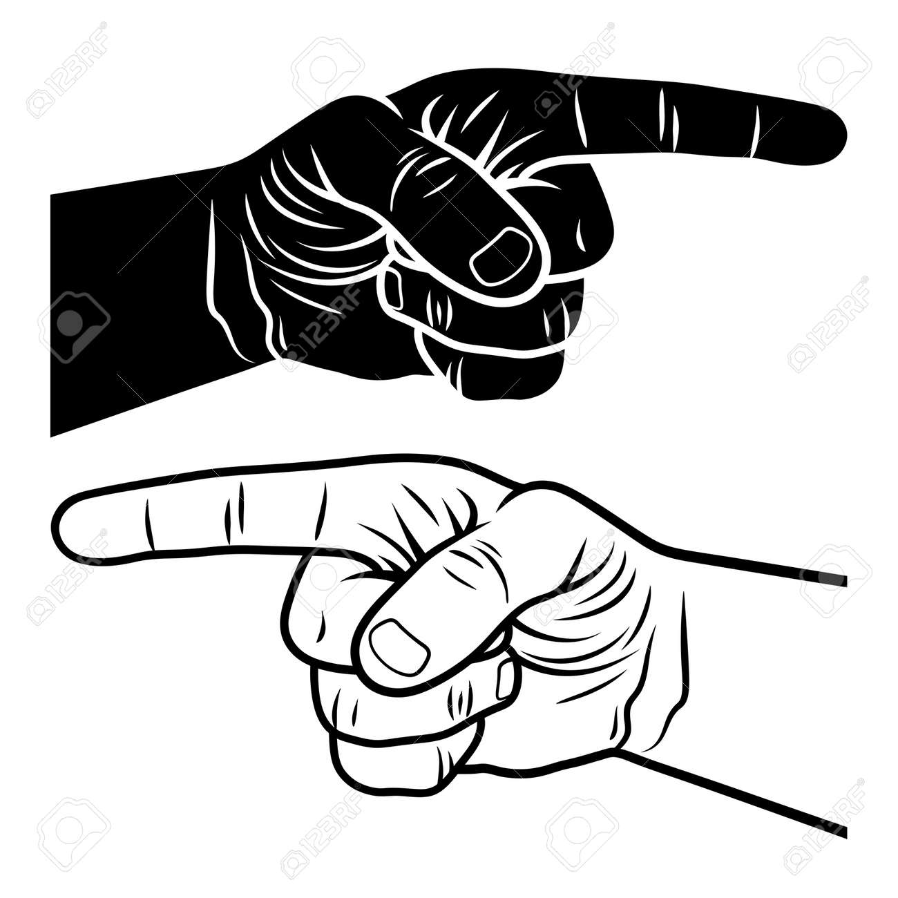 pointing hand vector illustration of a pointing finger hand drawn royalty free cliparts vectors and stock illustration image 88171816 123rf com