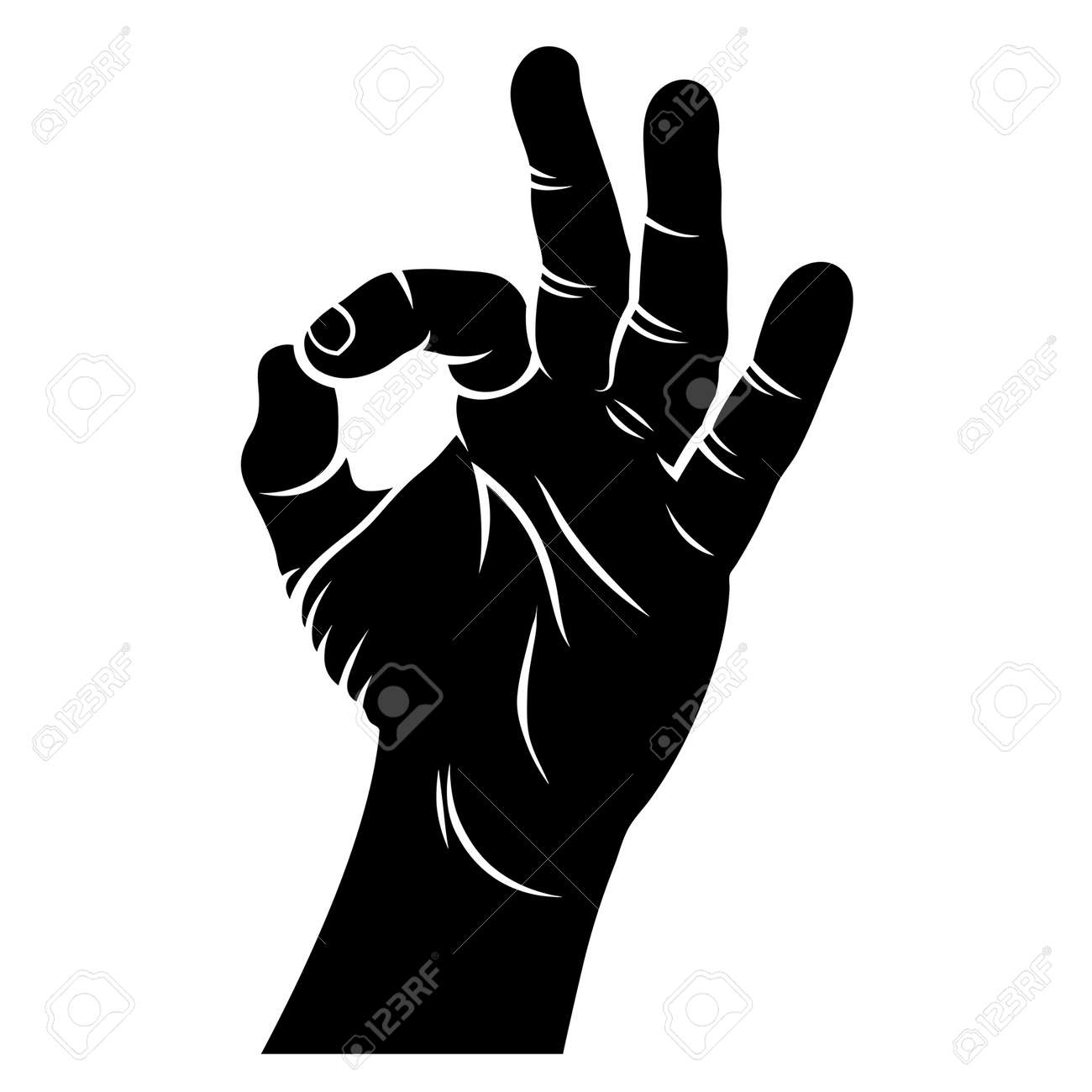 ok hand sign hand drawn sketch vector illustration a hand