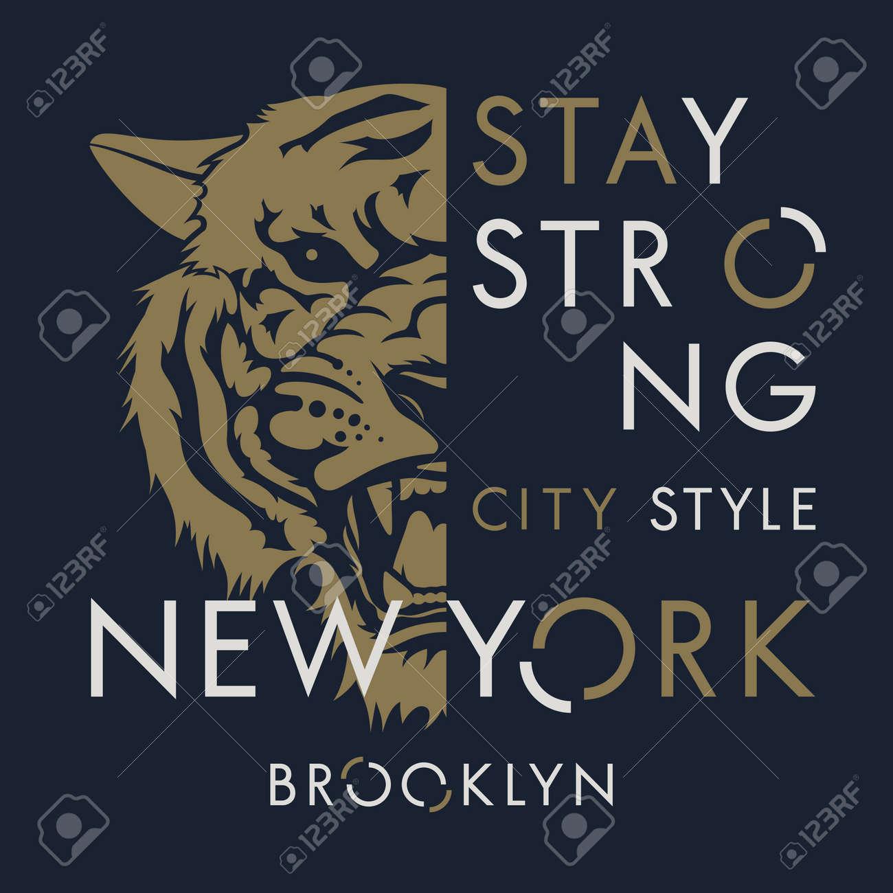 Tiger t-shirt print design. New York City typography. Tee graphics. Vector illustration - 93814041