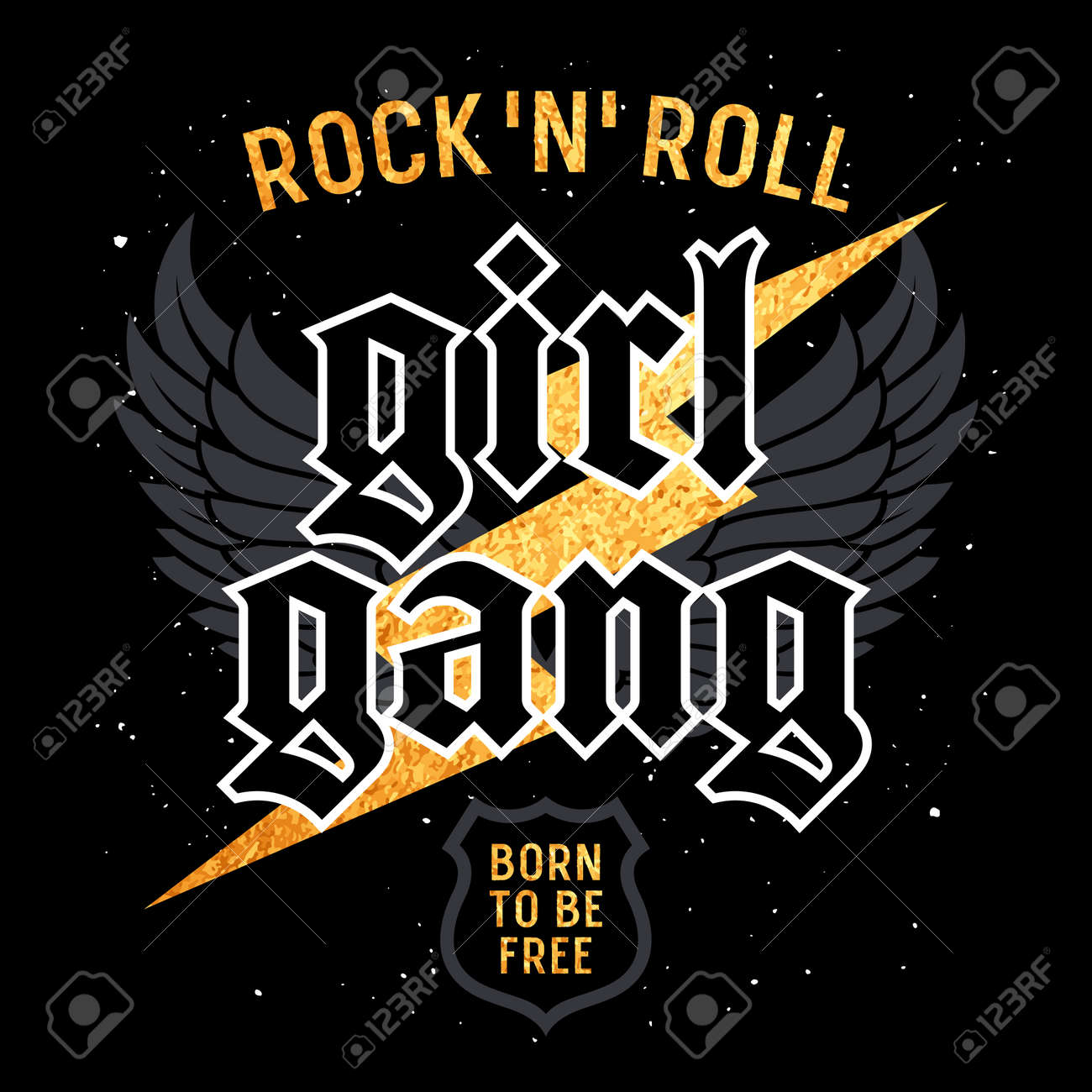 Rock and Roll Girl Gang graphic design for t-shirt, Fashion slogan