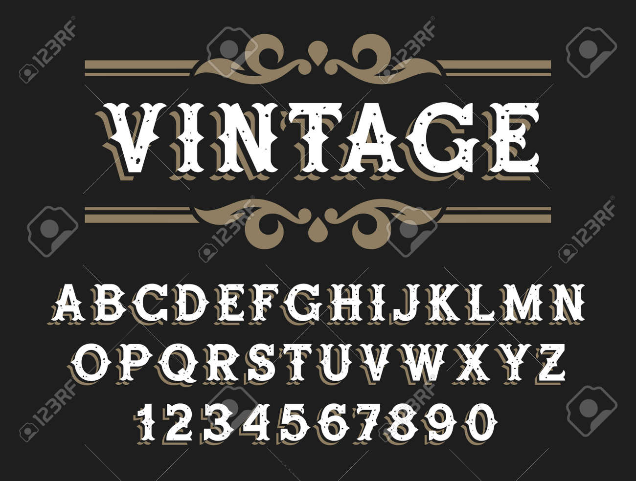 Vintage font in Wild West style. Handmade oldstyle typeface with grunge texture for signboards, labels and posters - 155779057