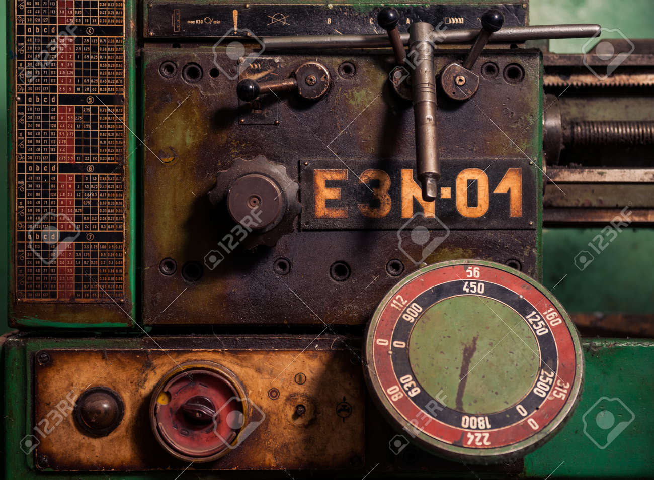 control panel of vintage metal processing machine - 116678509