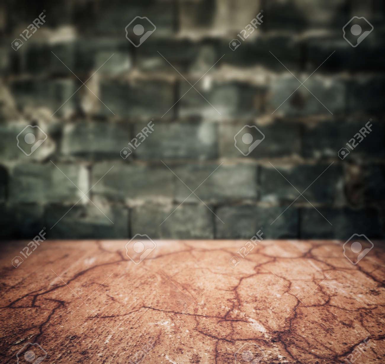 grunge urban stone floor and brick wall interior background - 140166815