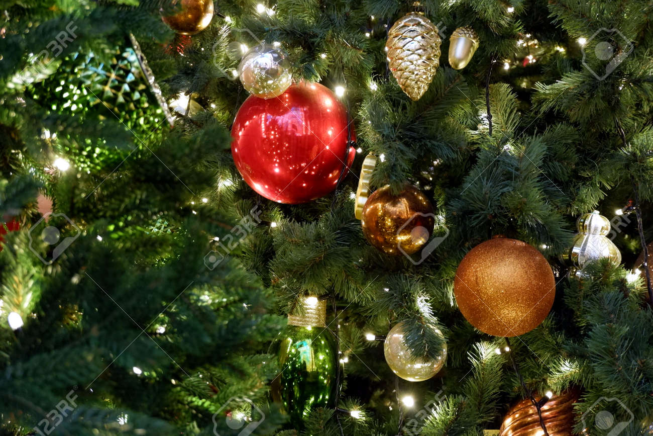 Reg Gold Green And Silver Christmas Decorations On A Christmas Stock Photo Picture And Royalty Free Image Image 160644412