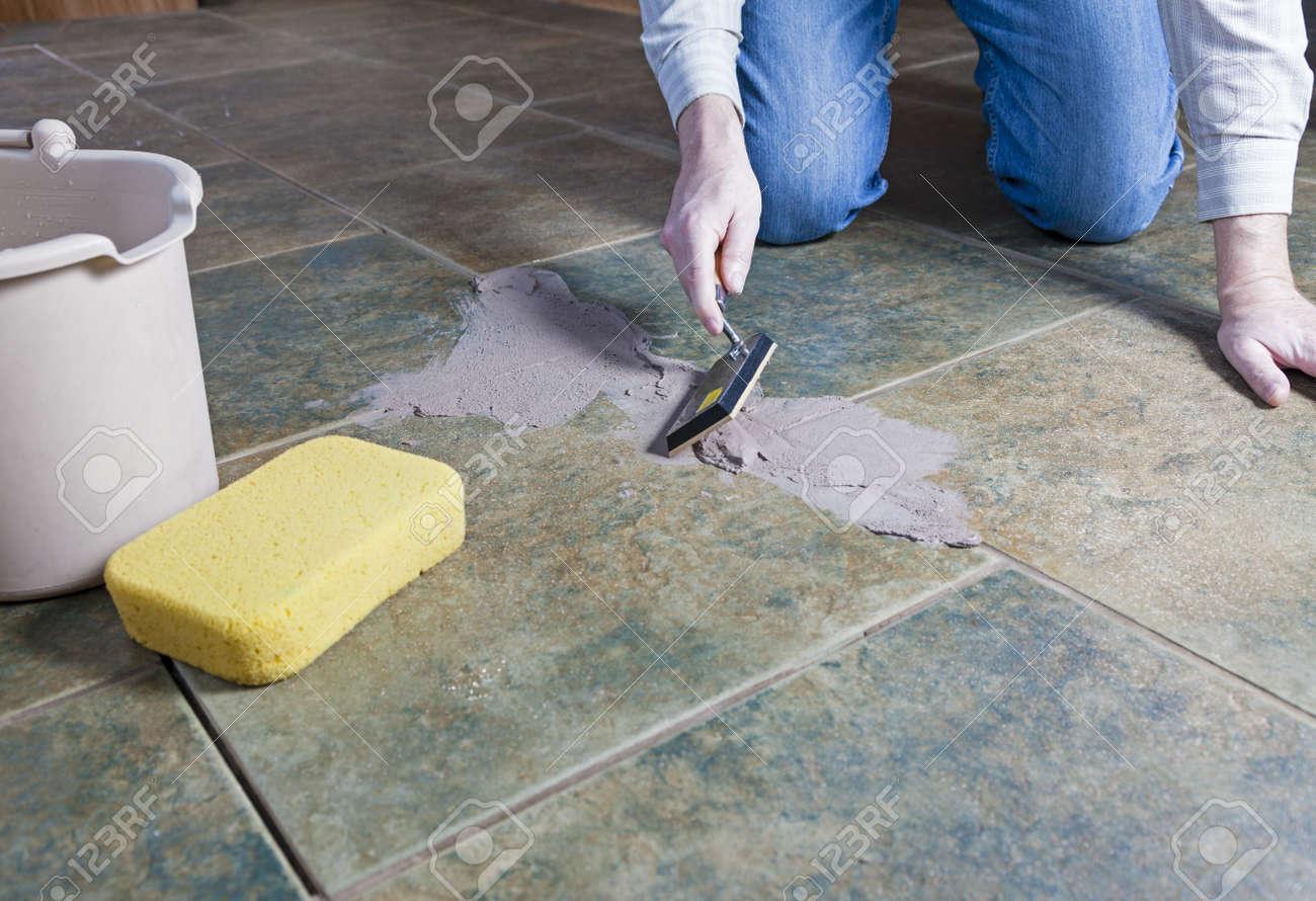 Tile Grout Repair Stock Photo - 17306107