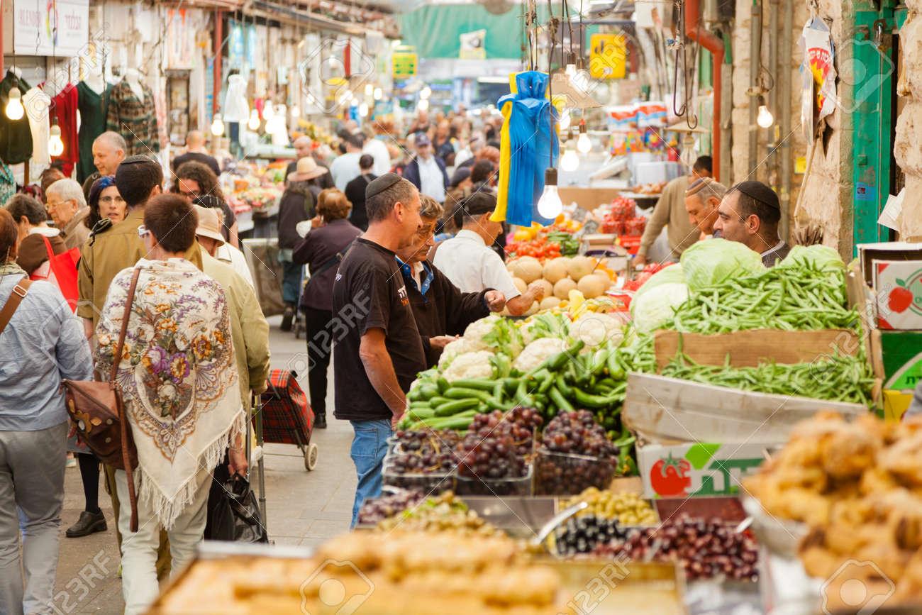 Jerusalem, Israel - November 15, 2012 - people are shopping at Mahane Yehuda - famous market in Jerusalem - 25454886