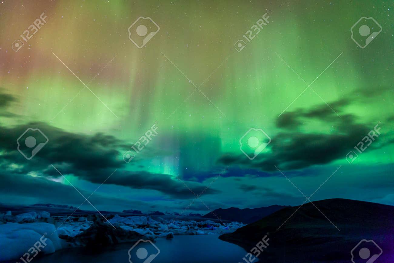 Aurora borealis over Jokulsarlon lagoon in Iceland Stock Photo - 43623071