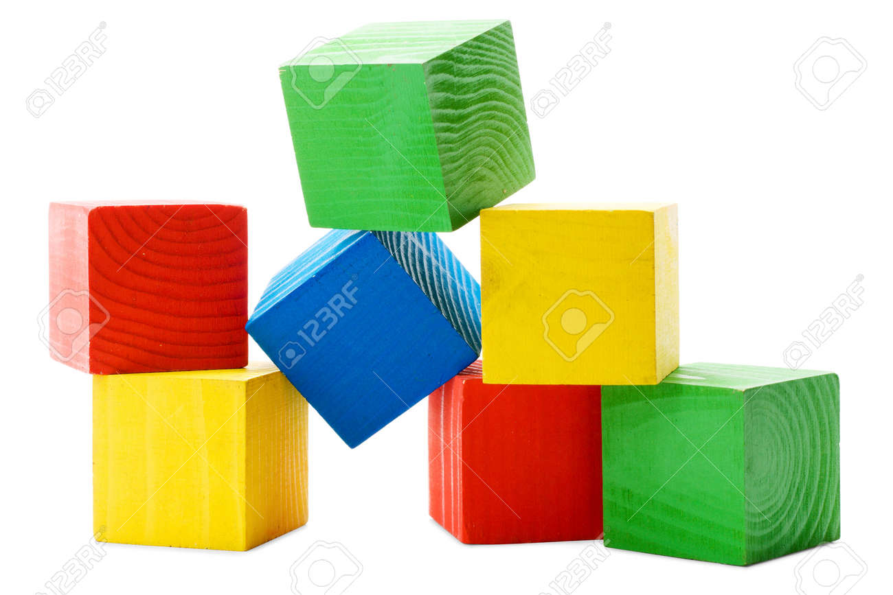 Heap of wooden colored cubes isolated on white background Stock Photo - 12822369