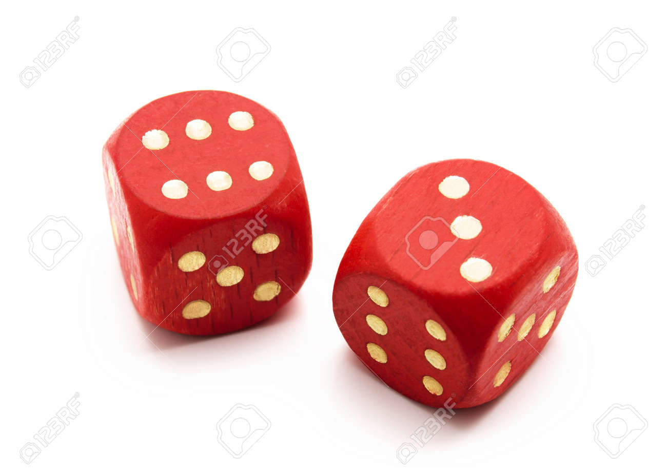 Red wooden dice isolated on white background Stock Photo - 12834322