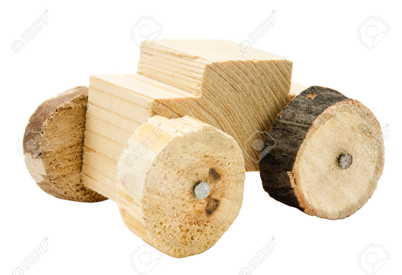 Homemade Wooden Car Toy Isolated On White Background