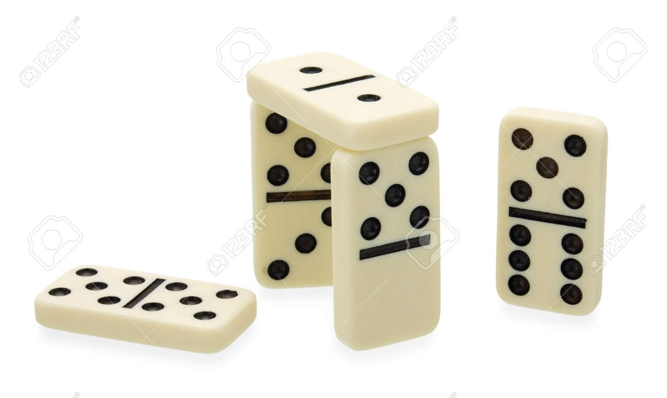 Dominoes construction built on white background - 13105717