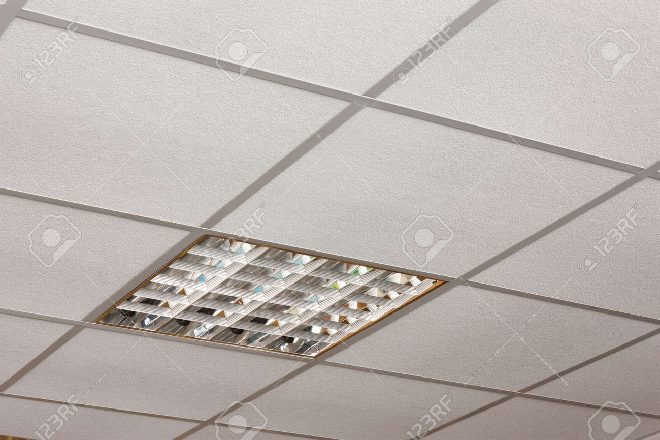 Ceiling lamp built-in on the white ceiling close-up diagonal view - 14764987