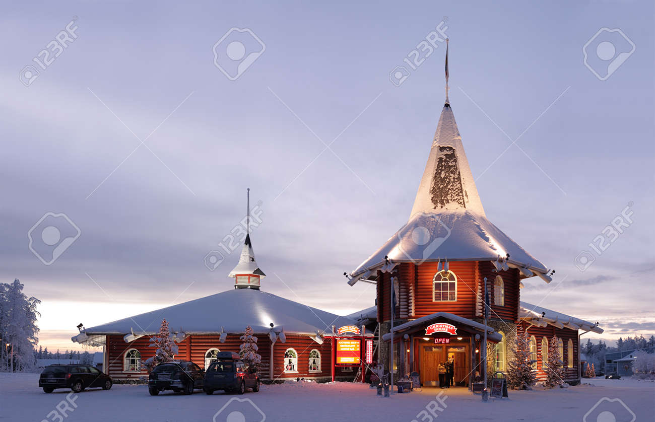 Christmas house in official Santa Claus village in Rovaniemi, Finland. Stock Photo - 15318466