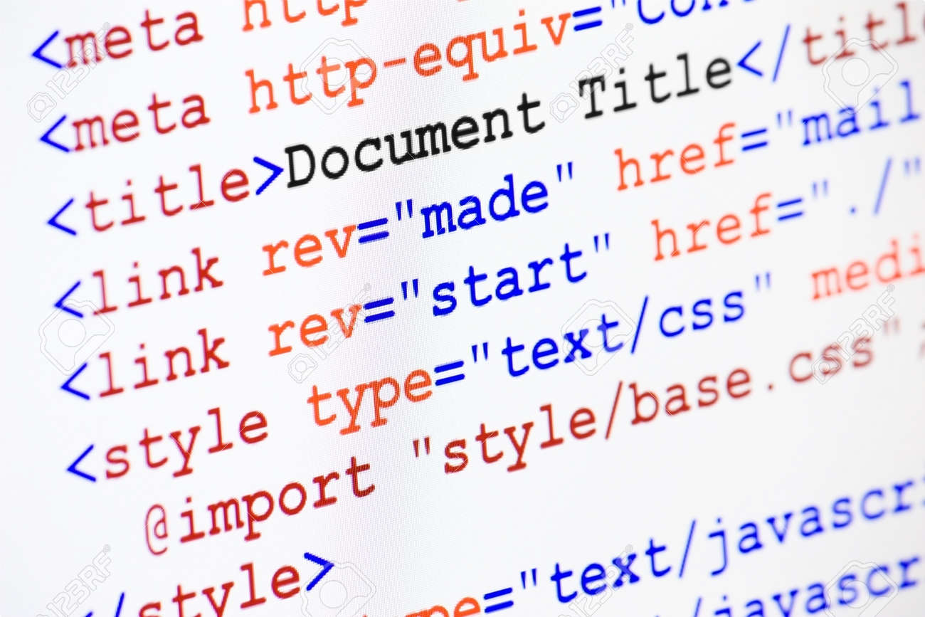 Web page HTML source code with document title, metadata description