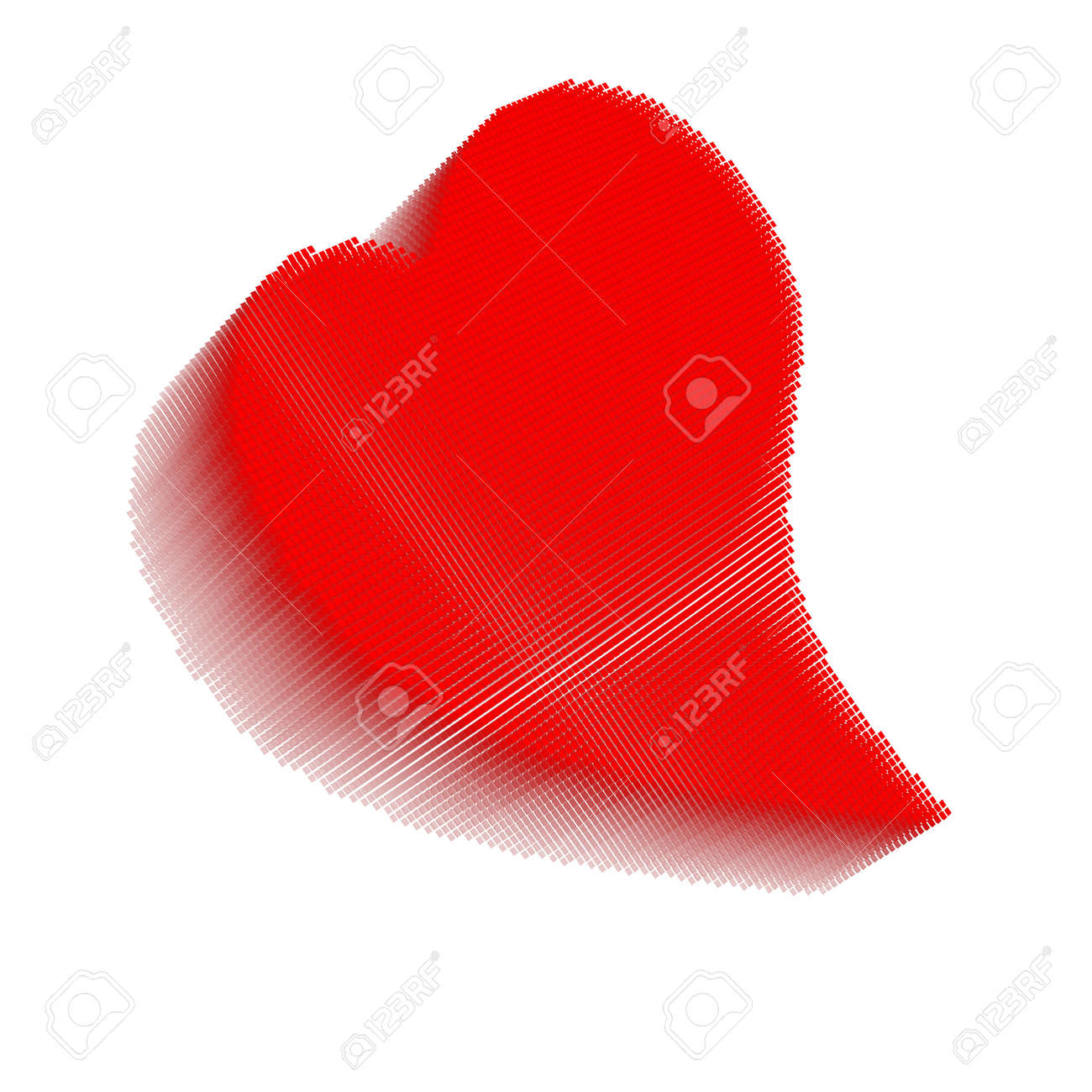 Red pixel icon-like three-dimensional image of bent heart on white background in diagonal view Stock Photo - 16460123