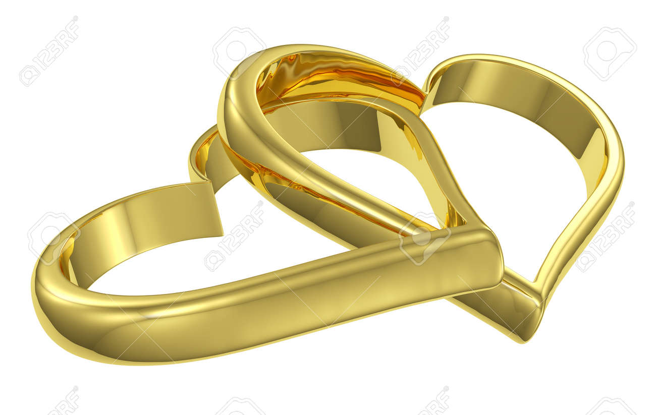 Wedding symbol  Couple Of Chained Golden Hearts Isolated On White Background ...