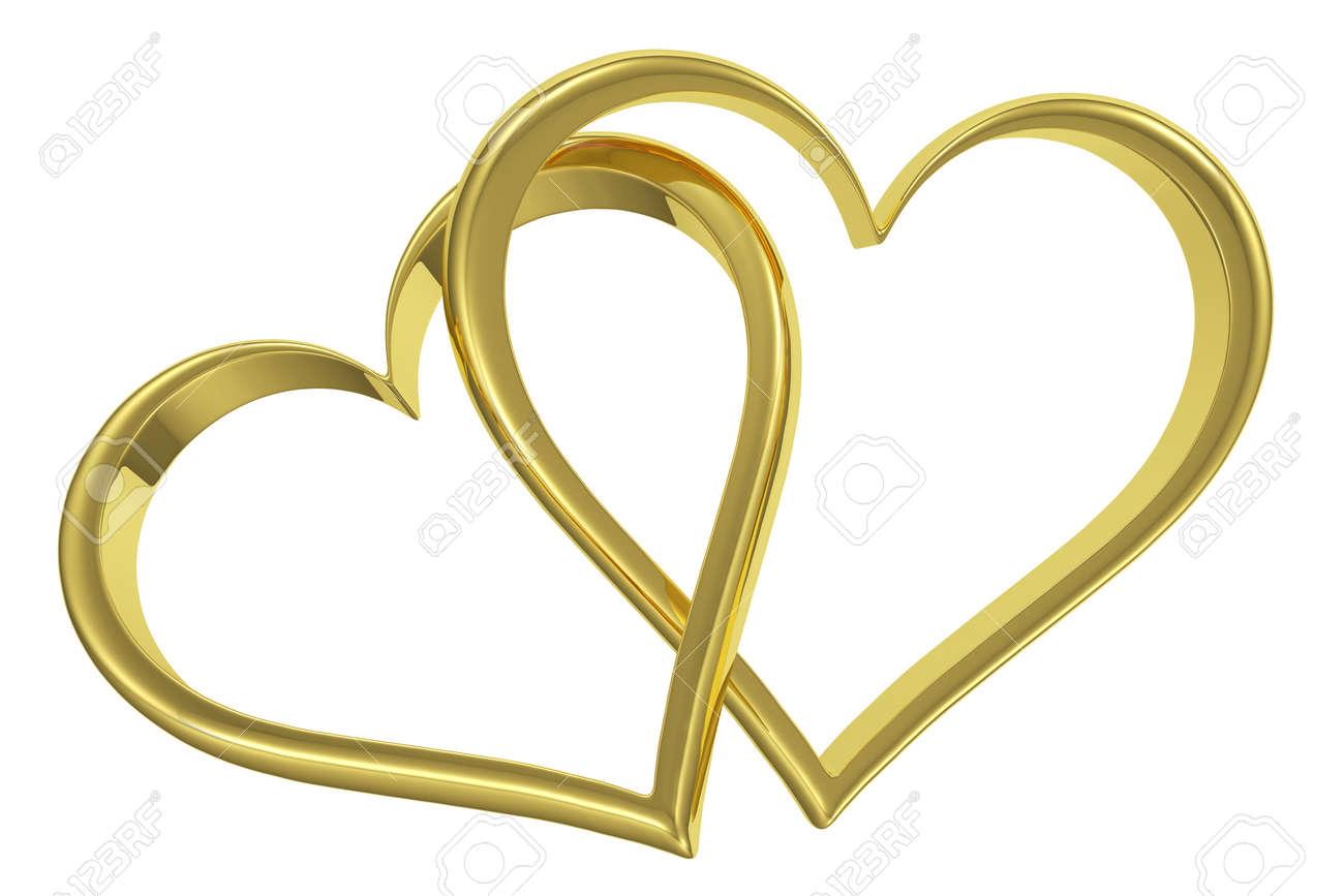 Couple Of Angekettet Goldenen Herzen Auf Weissem Hintergrund
