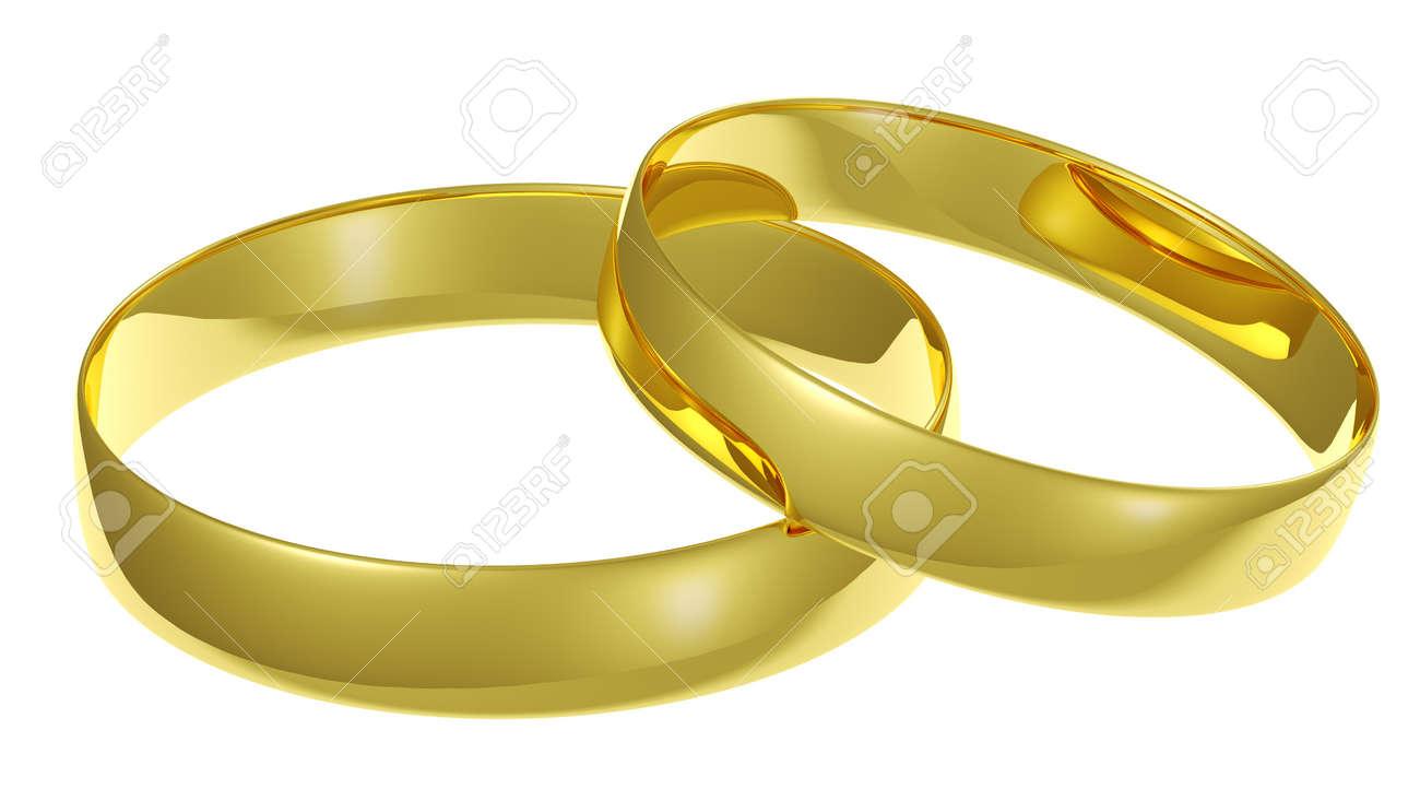 Zwei Goldene Hochzeit Ringe Auf Weissem Hintergrund Lizenzfreie Fotos