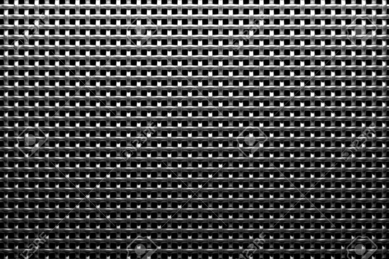 Braided Wire Steel Grid With Reflection On Black Background Under ...