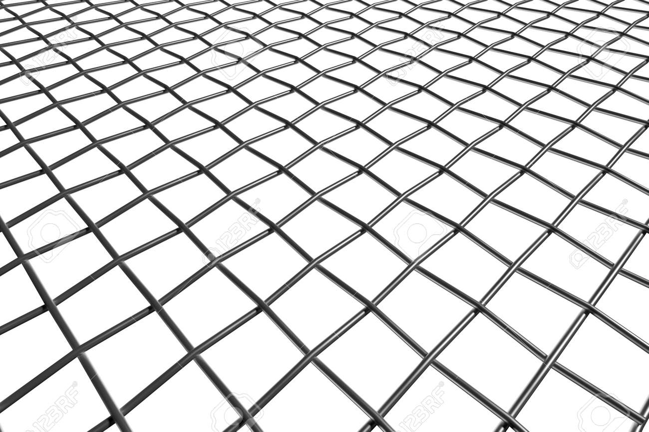 Braided Wire Steel Net In Perspective View On White Background ...