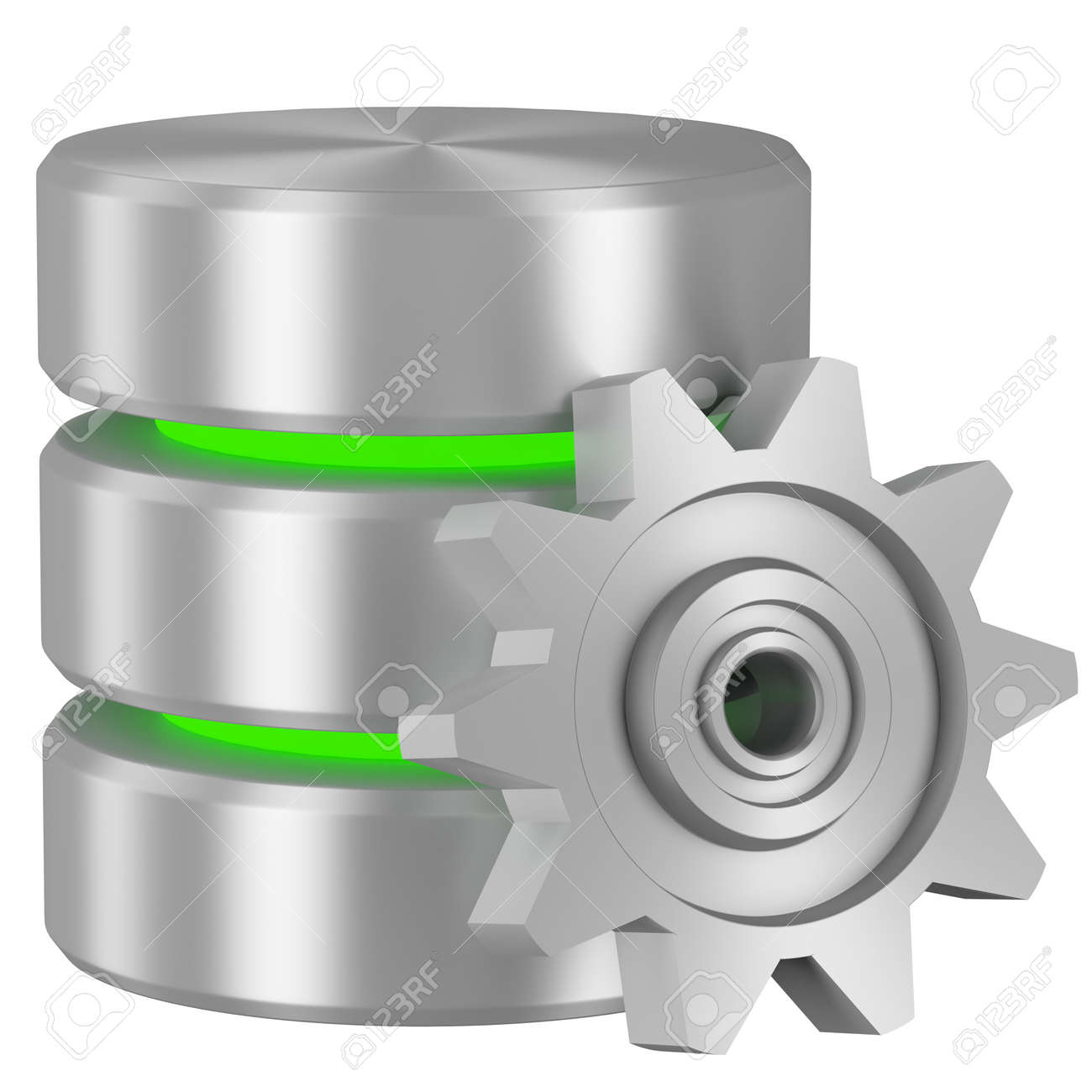Data processing concept icon: Database with green elements and metal cogwheel isolated on white background - 18684281