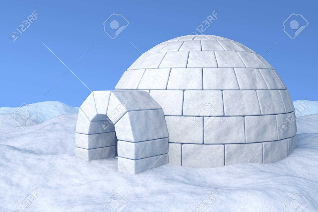 Igloo icehouse on the white snow under blue sky three-dimensional illustration - 24527408