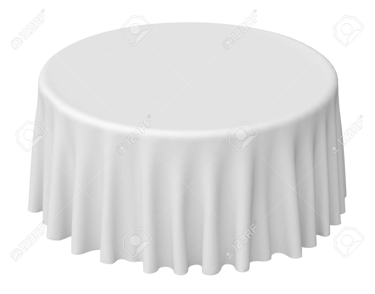 White round tablecloth isolated on white, 3d illustration - 26378184