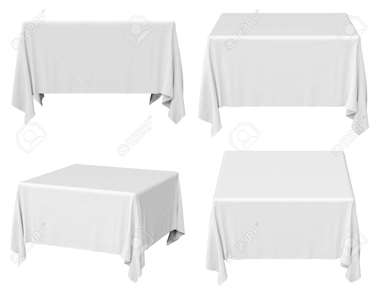 Ordinaire Illustration   White Square Tablecloth Set Isolated On White, 3d  Illustration