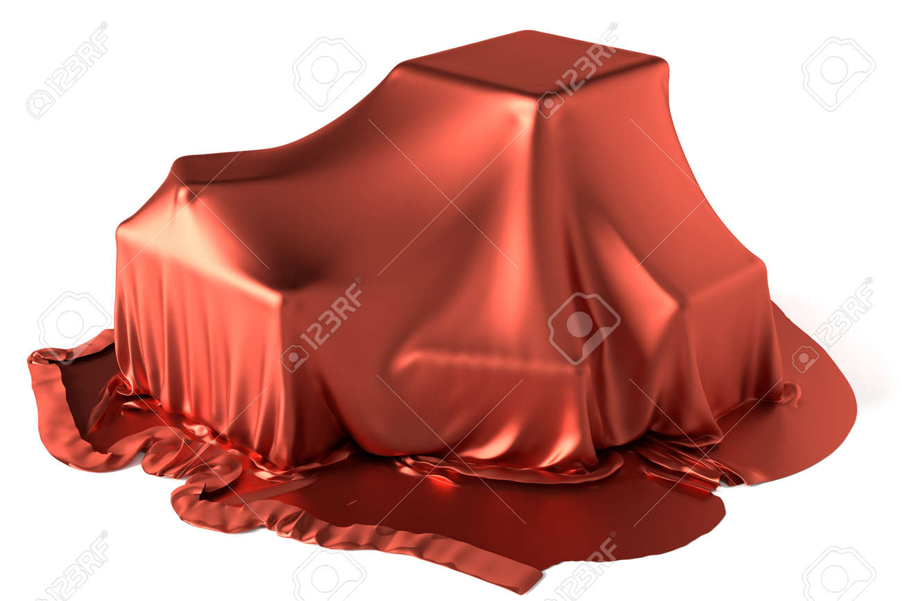Some boxes covered by red silk fabric - 26953537