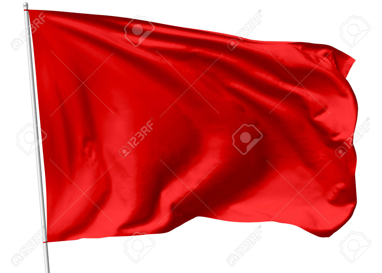 Red flag on flagpole flying in the wind isolated on white, 3d illustration - 29489781