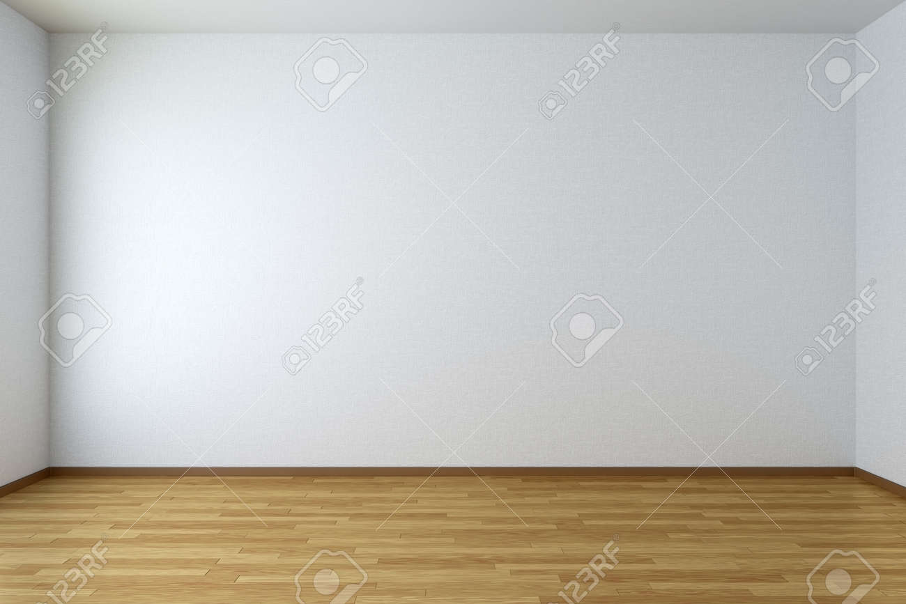 Empty room with white walls and wooden parquet floor - 36424004