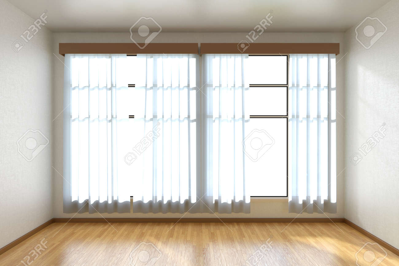 Empty Room With White Walls Wooden Parquet Floor And Window Stock