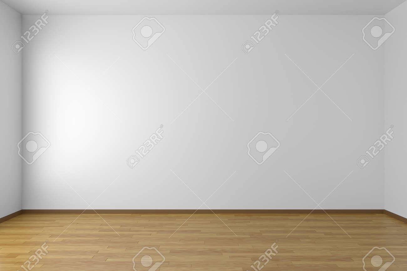 sitio blanco vaco con paredes blancas y suelo de parquet de madera foto de archivo