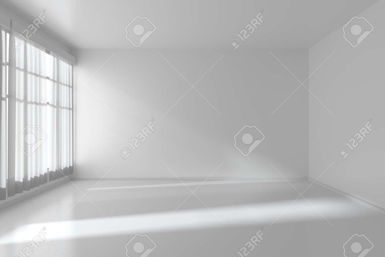 White empty room with white flat walls without textures, white parquet floor and window with white curtains, 3D illustration - 37151619