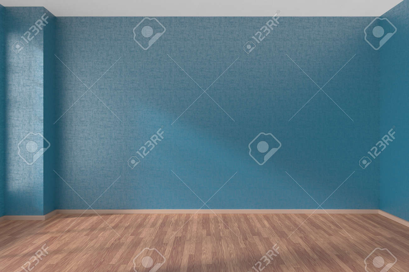 Empty room with blue walls and wooden parquet floor under sunlight through window, 3D illustration - 42347602