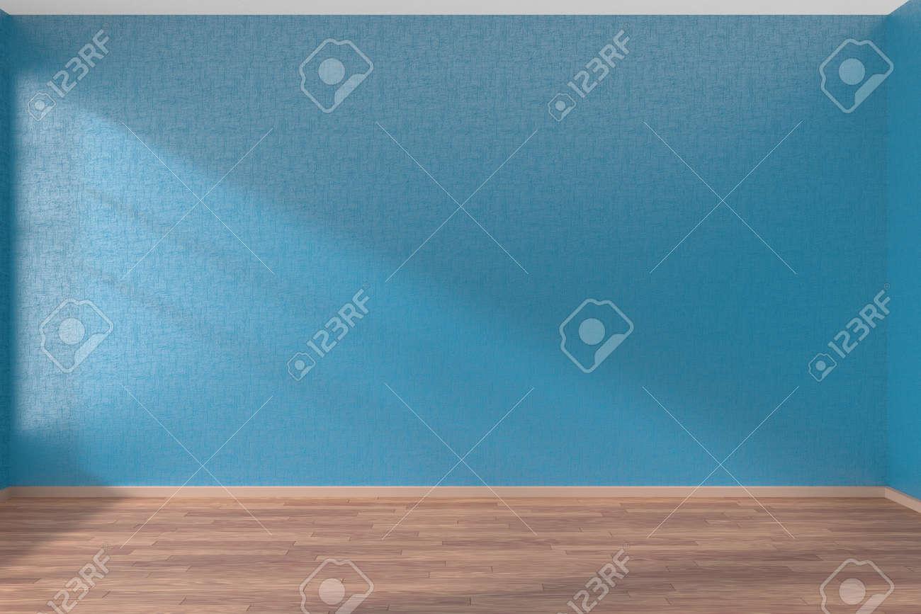 Empty room with blue walls and wooden parquet floor under sun light through window, 3D illustration - 42347615