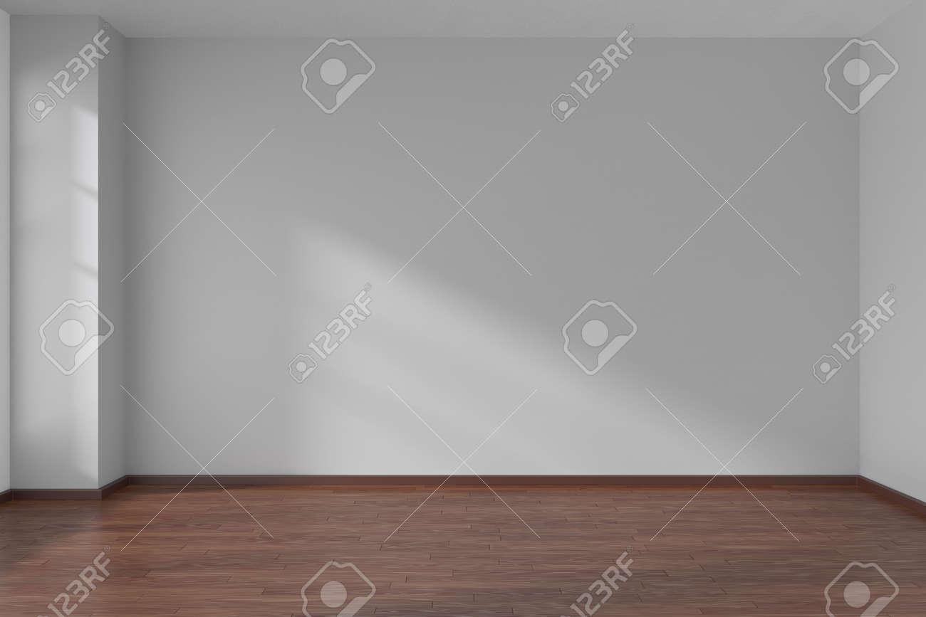 Empty room with white flat smooth walls and dark wooden parquet floor under sun light through window, 3D illustration - 42347617
