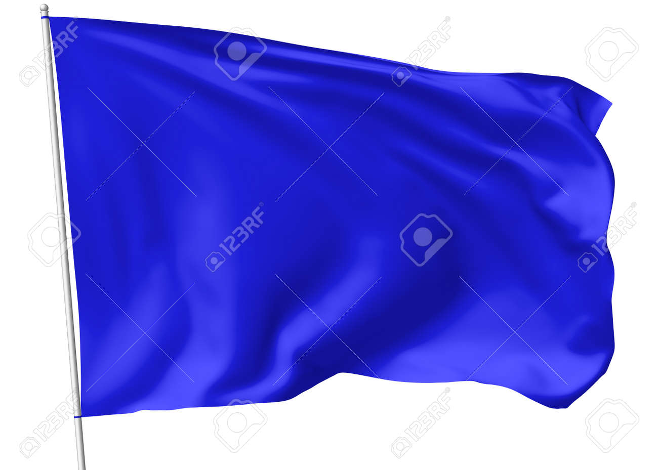 Blue flag on flagpole flying in the wind isolated on white, 3d illustration - 43888308