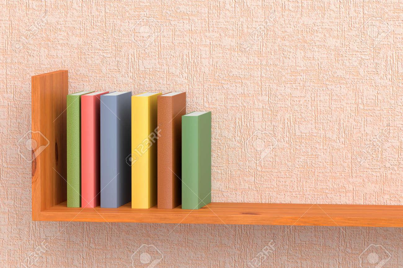ピンクの壁紙 3 D 図で壁に木製の本棚の本 の写真素材 画像素材 Image