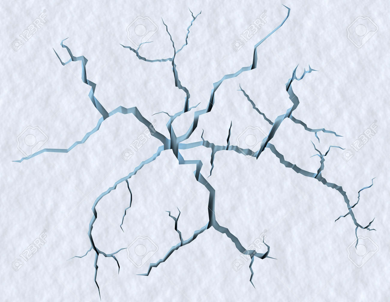 Danger on the show surface concept abstract illustration: cracks in blue ice of cracked glacier in textured white snow surface under sunlight, closeup view, winter 3d illustration - 46050592