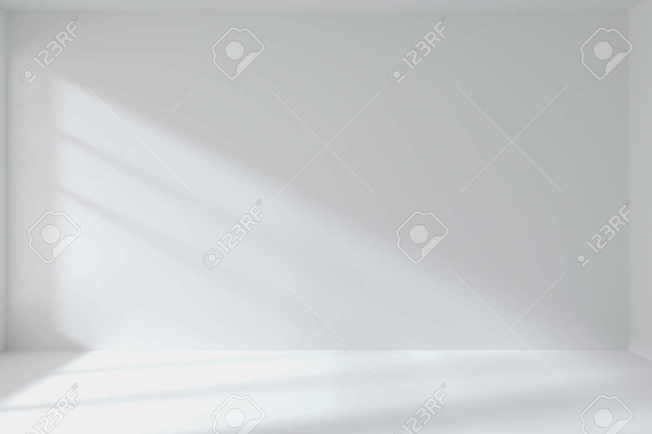 Abstract architecture white room interior: empty white room with white wall, white floor, white ceiling with light from window, without any textures, 3d illustration - 52887058