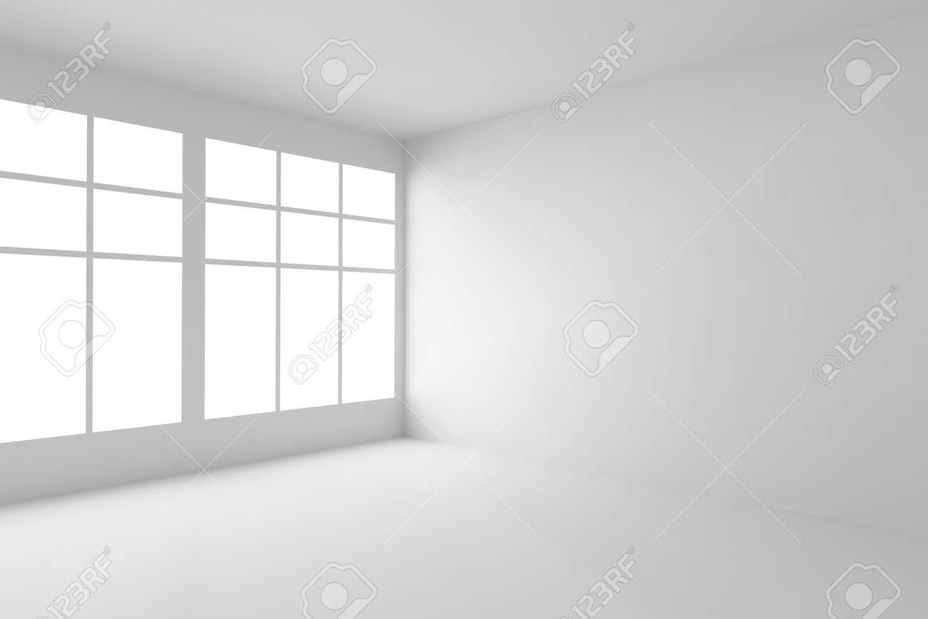 Abstract architecture white room corner interior: empty white room corner with white walls, white floor, white ceiling and window with light from window, without any textures, 3d illustration - 52887971