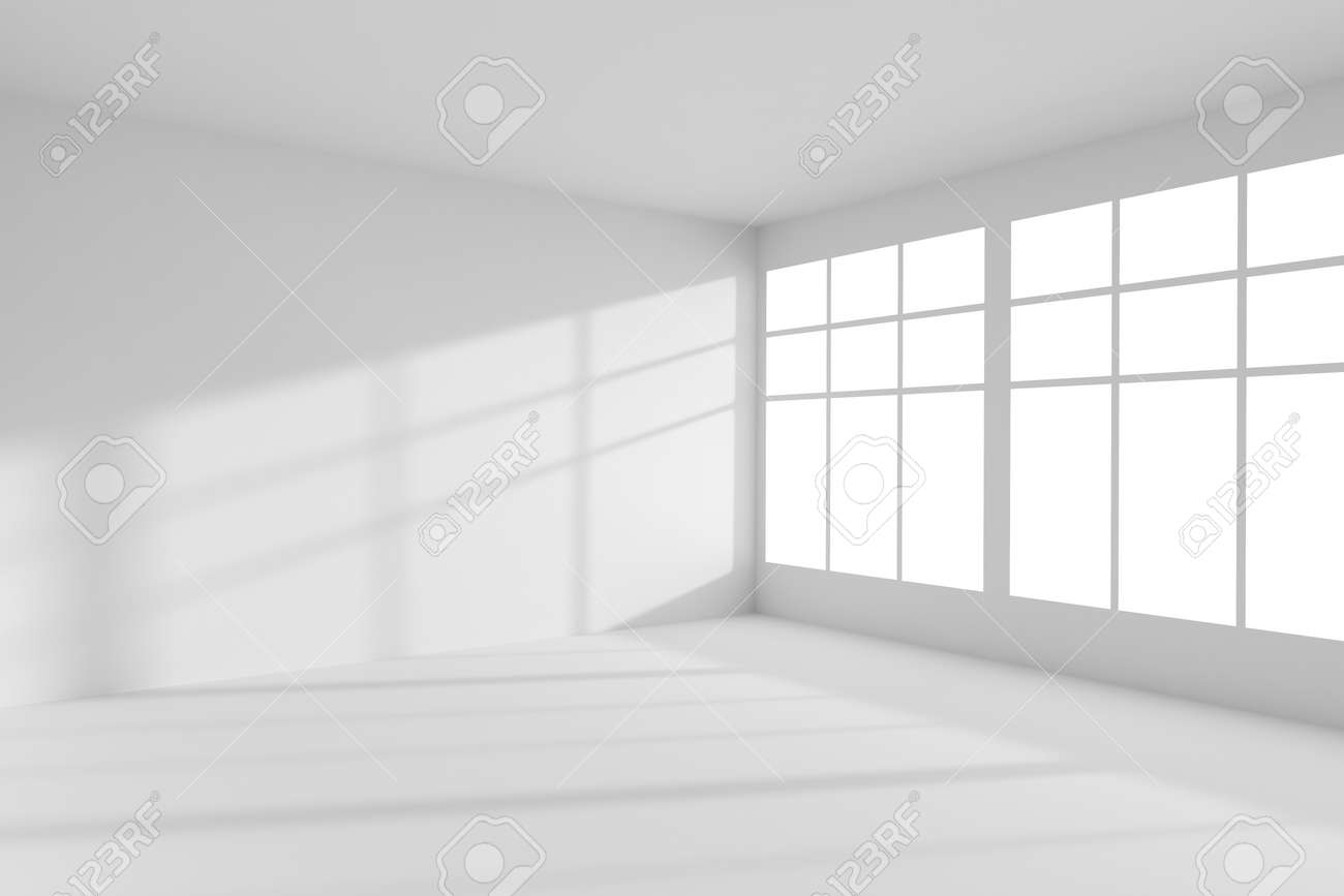 Abstract architecture white room interior: empty white room corner with white walls, white floor, white ceiling and window with sunlight from window, without any textures, 3d illustration - 52888190