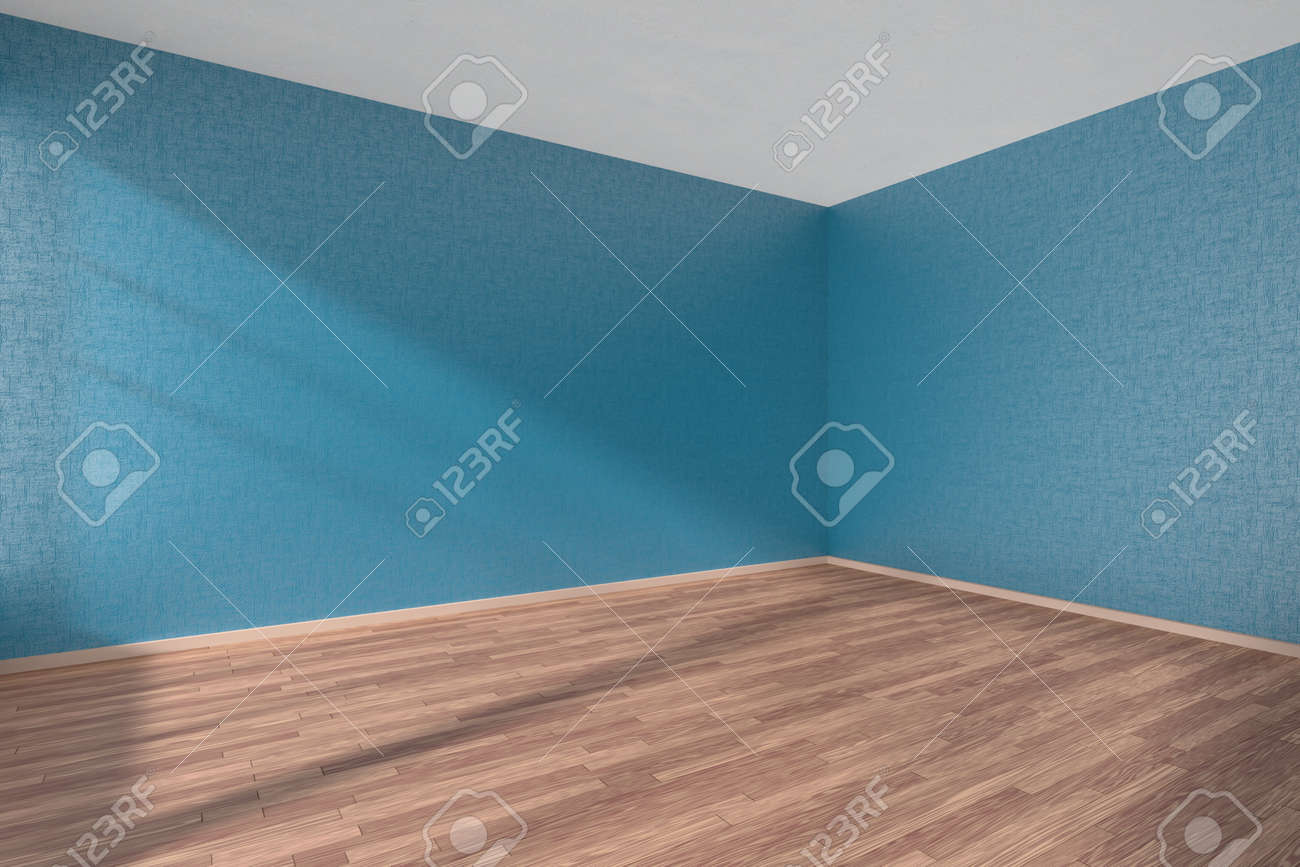 Empty Room With Wooden Parquet Floor And Walls With Blue Textured ...