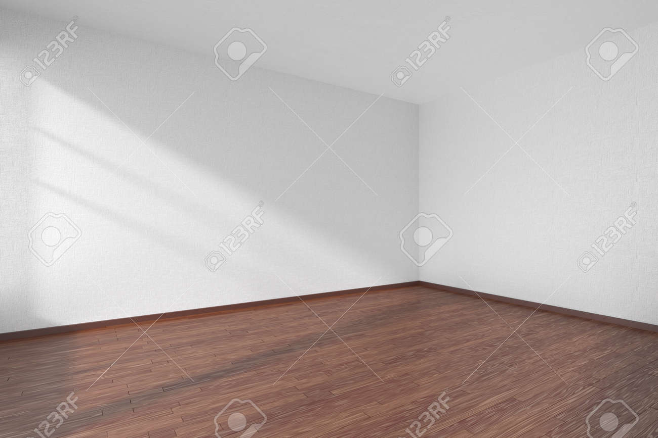 dark wood floor perspective. Empty Room With Dark Hardwood Parquet Floor And Walls White Textured Wallpaper Sunlight From Wood Perspective T